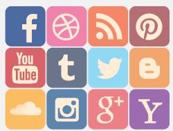 Soziale Medien, wie Facebook und Twitter